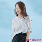 Red House-蕾赫斯-V領小蕾絲條紋襯衫(共2色)