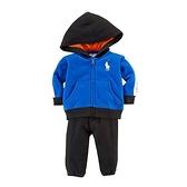 Polo Ralph Lauren 純棉連帽薄外套+長褲 二件組 藍直條 | 男寶寶套裝(嬰幼兒/小孩/baby)