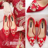 婚鞋紅色結婚鞋女新款新娘鞋敬酒細跟低跟單鞋女高跟伴娘鞋秀禾鞋 初語生活