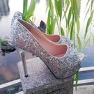 魚口鞋 超高跟10cm性感魚嘴單鞋防水臺亮片淺口細跟女鞋歐美夜場14cm春季