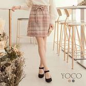 東京著衣【YOCO】經典赫本格紋附綁帶中長裙-S.M.L(172089)