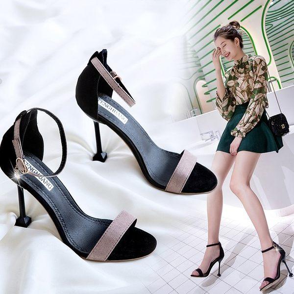 女韓版百搭10cm高跟鞋子性感細跟黑色一字扣露趾涼鞋k-shoes