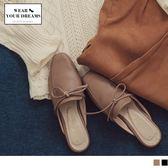 《SD0166》台灣製造~簡約綁結仿皮革半拖鞋 OrangeBear