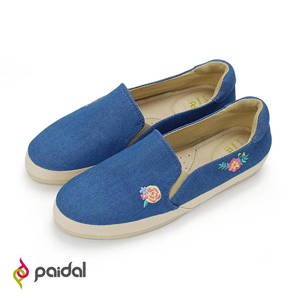 Paidal 粉薔薇電繡懶人鞋樂福鞋休閒鞋
