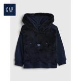 Gap男嬰兒童趣動物造型絨面連帽上衣519248-海軍藍色