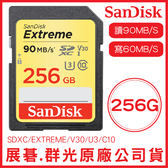 SanDisk 256GB EXTREME SD U3 V30 記憶卡 讀90MB 寫60MB 256G SDXC