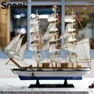 地中海木質工藝船 一帆風順船擺件RQ