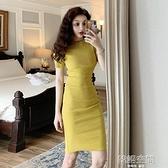 短袖洋裝 優雅復古連身裙女2021夏季新款修身百搭中長款短袖包臀A字短裙子