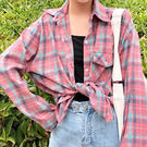 襯衫-百搭寬鬆翻領排釦單邊口袋拼色格紋防曬外套休閒長袖襯衫Kiwi Shop奇異果0823【SZZ96】