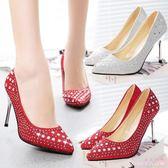 公主水晶鞋韓版新款細跟尖頭銀色百搭女鞋水鉆性感亮片高跟伴娘婚鞋 DR18748【Rose中大尺碼】