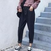 [S-5XL] 闊腿牛仔褲女大碼復古哈倫BF百搭寬鬆九分蘿卜老爹褲 - 巴黎衣櫃