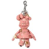 COACH DISNEY MINNIE米妮玩偶造型花花皮革鑰匙圈(粉紅色)198256-2