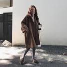 【限時下殺89折】短版大衣 寬鬆廓形毛呢外套女秋冬正韓學生中長版中大尺碼斗篷呢子大衣