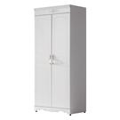 【采桔家居】修爾曼  法式白2.7尺二門衣櫃/收納櫃(雙吊衣桿+開放層格)