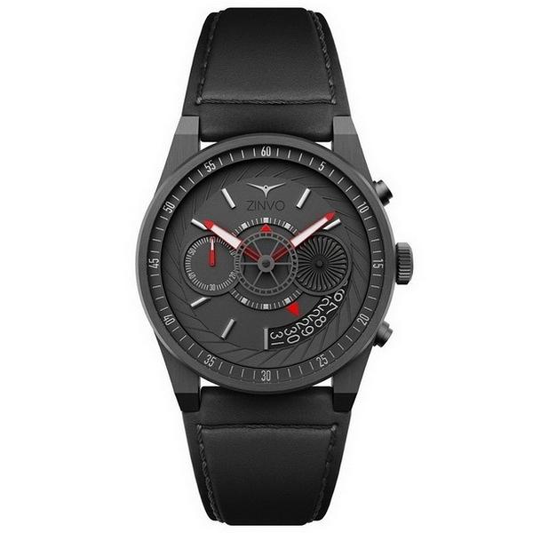 【台南 時代鐘錶 ZINVO】CHRONO GUNMETAL 前衛設計強烈風格計時手錶 皮帶 電鍍灰 44mm 公司貨保固兩年