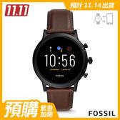 【預購】FOSSIL GEN 5智能錶 卡萊爾HR-深咖皮革手錶44MM FTW4026
