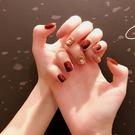 短款酒紅 豆沙色跳色顯手白假指甲成品 美甲貼片 店慶降價