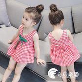 女童洋裝-女童連身裙2018夏季新款韓版女寶寶背心裙中小童時尚格子公主裙潮-奇幻樂園