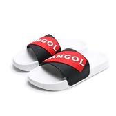 KANGOL 拖鞋 黑紅 大LOGO 橡膠 一片拖 防水耐磨 男女 (布魯克林) 6025220124