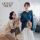 Queen Shop【01023498】簡約素色排釦造型長袖襯衫 兩色售*現+預*