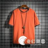 短袖T恤-個性假兩件新款棉麻短袖T恤男士寬松大碼運動半袖男潮流-奇幻樂園