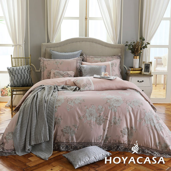 加大八件式蕾絲緹花兩用被床罩組-HOYACASA薇爾蒂雅