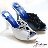 ☆Deluxe☆魅力典雅-真皮拼接麂皮幾何造型晶鑽涼拖鞋★二色