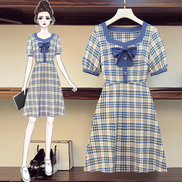 超殺29折 韓國風復古方領藍蝴蝶結格紋裙收腰氣質短袖洋裝