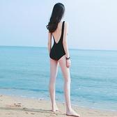 泳裝 連身les游泳衣女性感顯瘦遮肚韓國露背黑色仙女風-Ballet朵朵