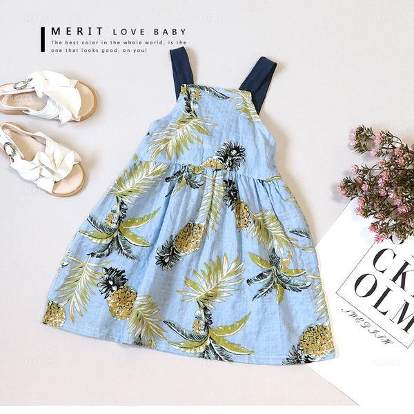 南洋風夏季鳳梨吊帶背心連身裙 棉麻 小洋裝 薄款 熱帶水果 渡假 女童 哎北比童裝