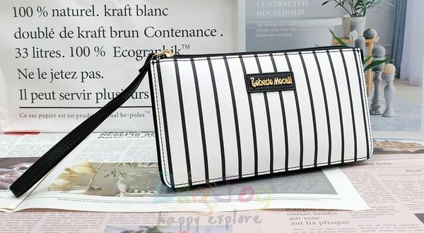 Roberto Mocali 諾貝兔 黑白系列 多格層拉鍊長夾 手拿包 RM-79927