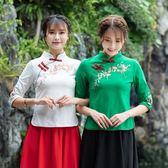 中國風刺繡上衣 原創女裝上衣 民族風修身復古繡花短袖顯瘦T恤