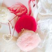 《花花創意会社》外流。優雅風絨毛粉桃口金零錢包【H6252】