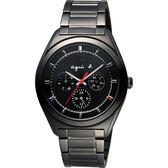 agnes b. Solar 驚豔巴黎太陽能日曆手錶-黑/40mm V14J-0CG0K(BT5011P1)