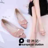 豆豆鞋/單鞋尖頭平底鞋女淺口平跟鞋女「歐洲站」