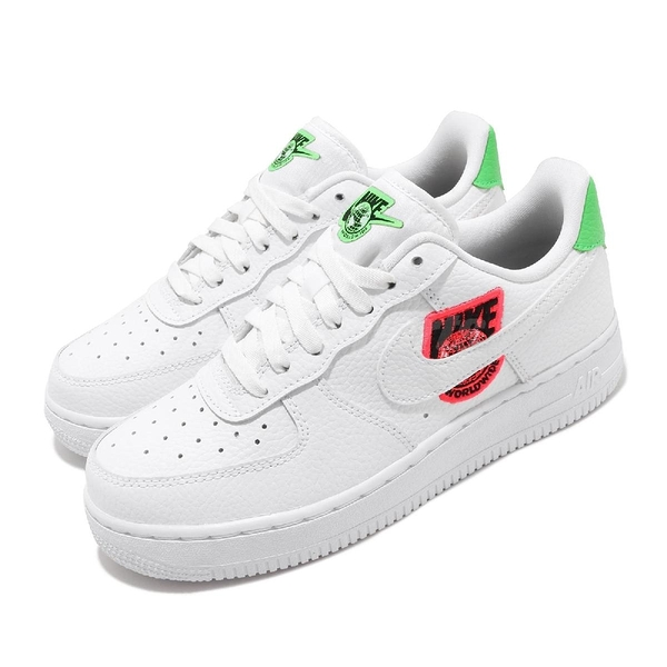 Nike 休閒鞋 Wmns Air Force 1 07 SE Worldwide 白 綠 女鞋 刺繡設計 運動鞋【PUMP306】 CT1414-100