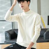 冬季半高領毛衣男韓版潮流寬鬆男士針織衫加厚純色打底衫學生