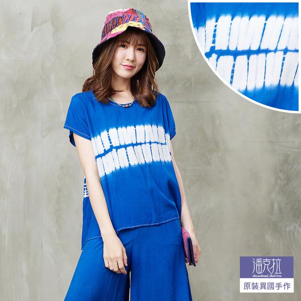 藍染寬版短上衣(藍/紅)-F【潘克拉】