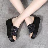 拖鞋女夏外穿時尚個性高跟百搭韓版2018鬆糕厚底楔形厚底新款涼拖·Ifashion
