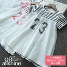 女童洋裝 23數字條紋拼接網紗連身裙 Q...