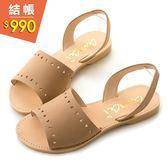 amai MIT台灣製造。森林系鏤空圖騰勾帶真皮涼鞋 棕