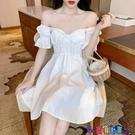 一字領連身裙 一字肩泡泡袖森系仙女夏法式智熏V領低胸心機性感收腰氣質連身裙寶貝計畫 上新