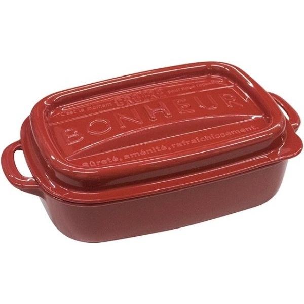 小禮堂 山田化學 日本製 方形微波保鮮盒 500ml (紅色款) 4965534-10609