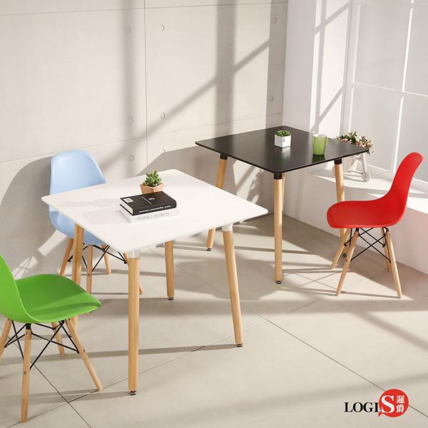 LOGIS邏爵- 自然簡約北歐寬80cm方形桌/ 方桌/ 工作桌/ 書桌/ 休閒桌 T8080W 白 T8080B黑