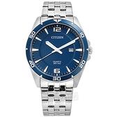 CITIZEN 星辰表 / BI5058-52L / 簡約商務 日期視窗 日本機芯 防水100米 不鏽鋼手錶 藍色 42mm