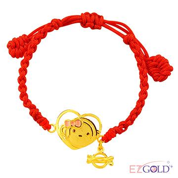 甜蜜約定金飾-金喜心小猴(粉)-黃金編織手鍊(兒童配戴)