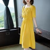 洋裝 連身裙溫柔裙中長款氣質收腰裙子 降價兩天
