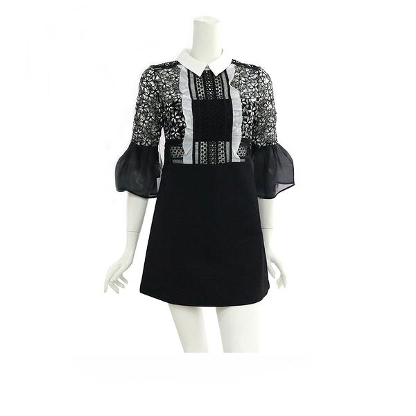 【self-portrait】7分袖短洋裝(黑白蕾絲)SP9078/BLACK.WHITE