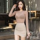 韓國新品 莫負時光 性感高腰淺米褶皺包臀半身裙緊身短 快速出貨
