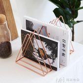 北歐創意鐵藝小書架桌面收納裝飾置物架簡易書夾書立